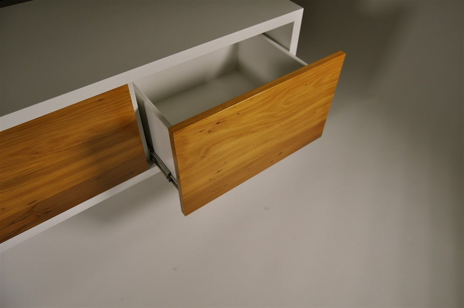 Recycled Rimu Entertainment Unit with Drawers, detail - Mano Furniture