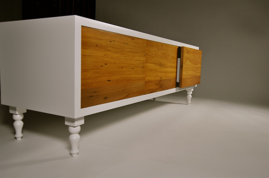 Recycled Rimu Entertainment Unit with Drawers - Mano Furniture