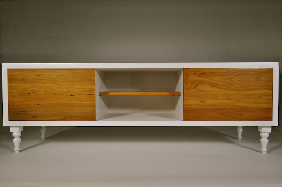 Recycled Rimu Entertainment Unit with shelf - Mano Furniture