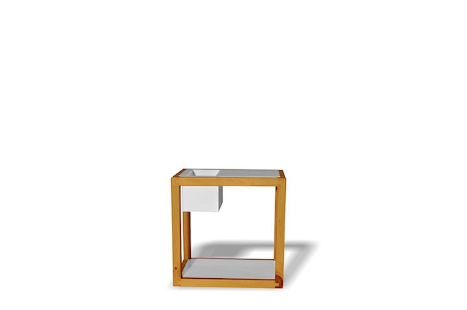Modular Plywood Side Table by Mano - white