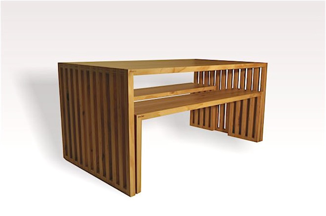 Plywood dining table and bench seats by mano