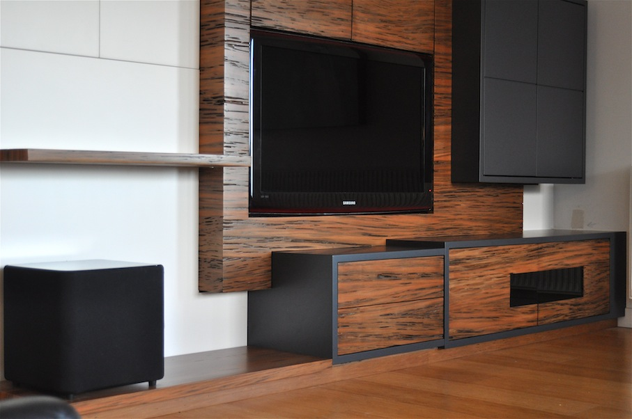 Entertainment unit and surrounding cabinetry